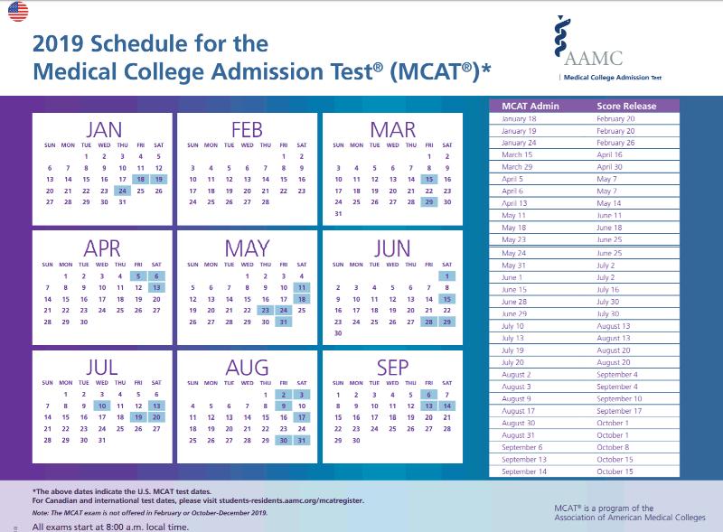 Mcat 2019 Calendar MCAT Test Dates 2019 | Download the 2019 MCAT Exam Schedule at